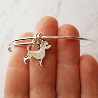 Silver Chihuahua Charm Bracelet - adjustable bangle double loop pet dog charm - personalized letter initial monogram - Mexican teacup puppy - breeder / groomer / vet / pet sitter gift - FREE SHIPPING