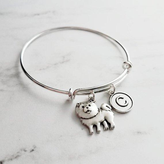 Chow Chow Charm Bracelet - adjustable looped bangle pet dog - personalized letter initial monogram - lion dog Songshi / Tang Quan puppy - breeder / groomer / vet / pet sitter gift - FREE SHIPPING