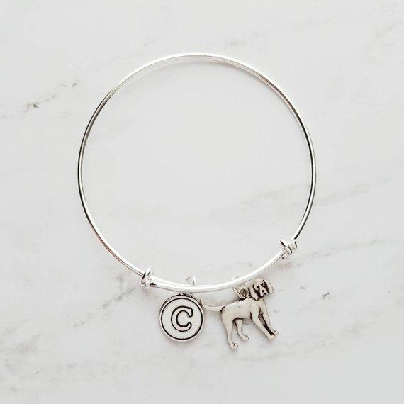 Coonhound Bracelet - silver bangle adjustable double loop pet charm - personalized letter initial monogram - handmade puppy coon hound - breeder / groomer / vet / pet sitter gift - FREE SHIPPING - Constant Baubling