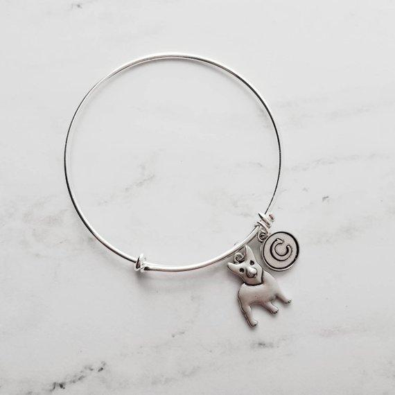 Corgi Jewelry - adjustable bracelet bangle double loop pet dog charm - personalized letter initial monogram - Pembroke Welsh herders - breeder / groomer / vet / pet sitter gift - FREE SHIPPING