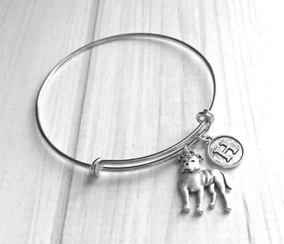 Pit Bull Bracelet - natural or cropper ear style - silver bangle adjustable double loop pet dog charm - personalized letter monogram - rescue American Terrier puppy - dog mom / breeder / groomer / vet / pet sitter gift