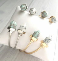 Open Cuff Bracelet - marbled stone hexagon point spear inset - stacking oval bangle in your choice of white or mint stone in a silver or gold finish - Constant Baubling