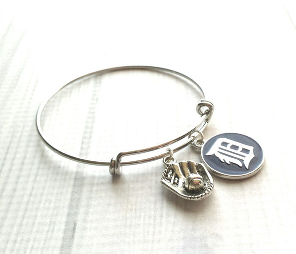 Detroit Tigers Baseball Bracelet - team pride jewelry Old English D bangle - silver trendy adjustable baseball glove / ball charm