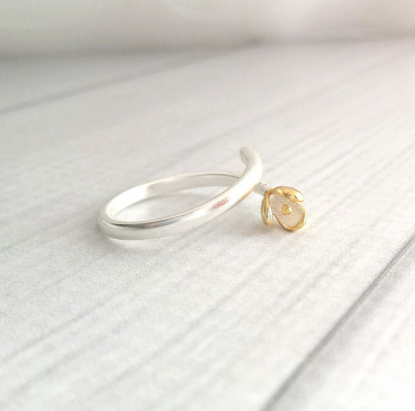 Sterling Silver Flower Wrap Ring - delicate blossom vermeil gold bud two tone mixed metals - adjustable sizes one size fits most all - Constant Baubling