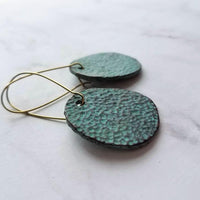 Hammered Disc Earrings - aqua green verdigris patina - removable w/ reversible pattern large rustic dark bronze disk on antique brass kidney hooks - Constant Baubling