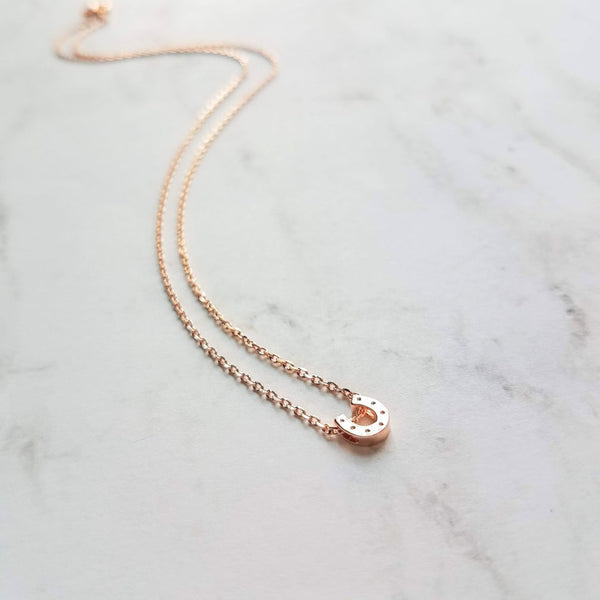 Small Horseshoe Necklace - rose gold thin delicate pink gold chain - little shiny horse shoe slider pendant / charm - Good Luck Charm dainty