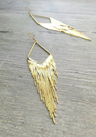 Gold Fringe Earrings - long flowing lines of flexible snake chain strand dangles in v shape - elegant tassel sexy evening wear chandelier