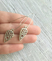 Silver Spear Earrings - arrow Aztec pattern cut out design in antiqued finish - long point ear hook arrowhead trendy Southwestern style - Constant Baubling