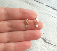 Moon and Star Earrings - rose gold stud w/ sterling silver post and tiny silver star dangle