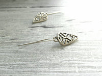 Silver Spear Earrings - arrow Aztec pattern cut out design in antiqued finish - long point ear hook arrowhead trendy Southwestern style