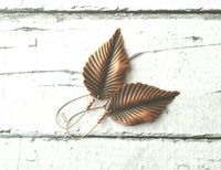 Copper Leaf Earrings - large antique finish leaves on bright shiny copper locking kidney ear wire - corrugated rippled texture lightweight