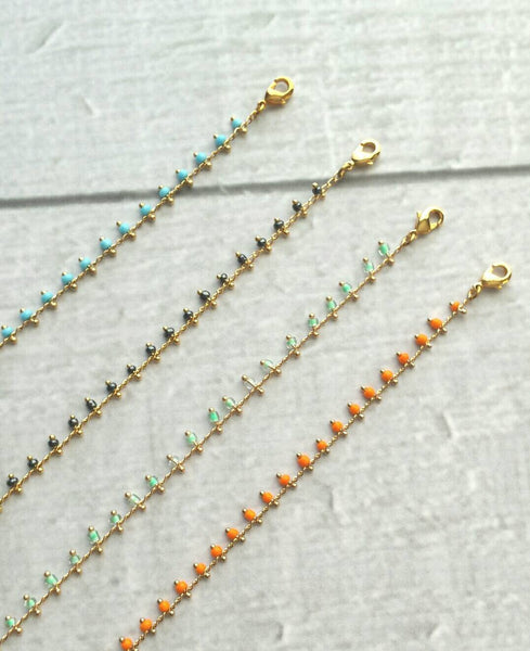 Beaded Bracelet - delicate gold adjustable chain friendship thin minimalist style - blue mint green orange navy layering simple tiny petite