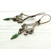 Copper Chandelier Earrings - dark antique finish long locking kidney ear wire - verdigris patina leaf / disk charms - unique boho gypsy