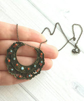 Medallion Necklace - blackened dark bronze / antique brass ox moon shape pendant - Bohemian ethnic tribal boho crescent - coral blue lacy