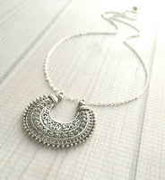 Medallion Necklace - antique silver ox finish round pendant - Bohemian ethnic tribal gypsy crescent moon shape - filigree floral Moroccan