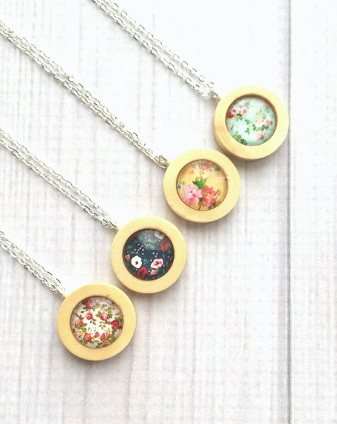 Flower Pendant Necklace - natural wood round frame your choice of cottage floral print - small dainty delicate unique simple spring mint