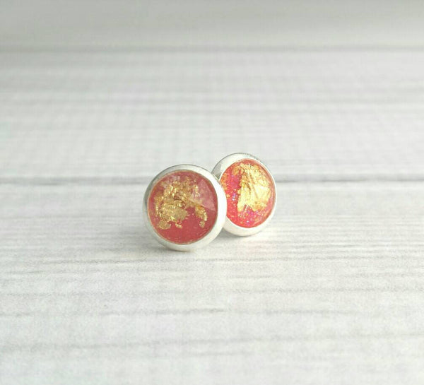 Gold Leaf Earrings - coral watermelon pink gold foil stud - small little round dome everyday glam - silver bezel / post - trend sparkle posh