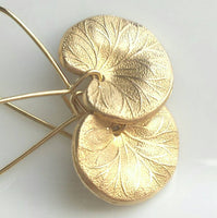 Lotus Leaf Earrings - simple gold small delicate 3D charm leaves dangle on locking kidney wires - frog pond lily pad lilypad rebirth new