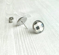 Buffalo Plaid Earrings - black white check flannel winter pattern print under glass - stainless steel hypoallergenic studs - ivory cream