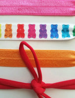 Gummy Bear Accessories - hair tie band rainbow color set - knot elastic ribbon no crease head wear accessory bright candy treat girl gift