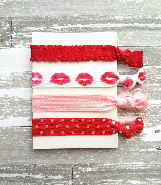 Valentine Hair Tie Set - lip kiss mark red pink white ponytail holder band knot elastic - ruffle stretch ribbon gift women girl - no crease