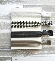 Neutral Hair Tie Set - herringbone black white silver sparkle glitter metallic grey / pewter gray - simple knot elastic ribbon band ponytail