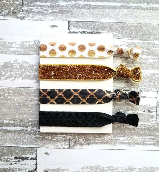 Celebration Hair Tie Set - elastic stretch ribbon knot accessory - glitter gold velvet sparkle shine black polka dot bridal gift party bow