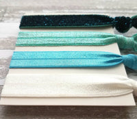 Blue Hair Band Set - ombre shades aqua turquoise velvet teal glitter sparkle elastic head tie ponytail holder handmade knot girl accessory