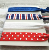 Red White Blue Hair Elastic Set - patriotic stripe polka dot 4th of July nautical theme cobalt sparkle tie band bow ponytail gift women girl