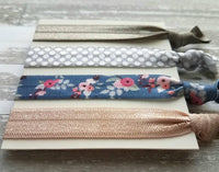 Preppy Hair Tie Set - girly sweet floral grey blue taupe polka dot elastic ribbon ponytail band collection - handmade ladies girls gift