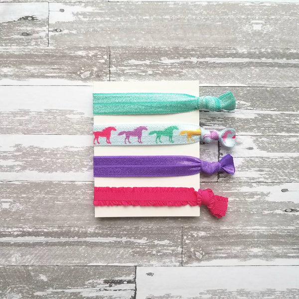 Unicorn Hair Set - rainbow hot pink purple aqua blue glitter sparkle elastic ribbon tie ponytail holder band ladies girls gift horse horn
