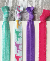 Unicorn Hair Set - rainbow hot pink purple aqua blue glitter sparkle elastic ribbon tie ponytail holder band ladies girls gift horse horn - Constant Baubling