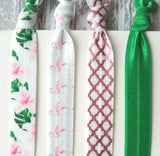 Tropical Hair Band Set - pink flamingo bird / hibiscus lily green palm leaf / pink foil quatrefoil lattice elastic ribbon tie bow tropics