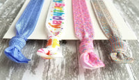Happy Birthday Hair Accessory Set - elastic tie stretch ribbon ponytail holder band - sprinkles pink purple party favor glitter sparkle gift - Constant Baubling