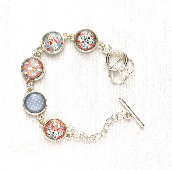 Moroccan Bracelet - silver glass charm disk bezel - grey / orange red fancy swirl damask gray polka dot print toggle clasp - gift for her