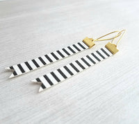 Black White Stripe Earrings - faux leather extra long flag pennant narrow tag style nautical theme - gold locking kidney ear wire - vegan