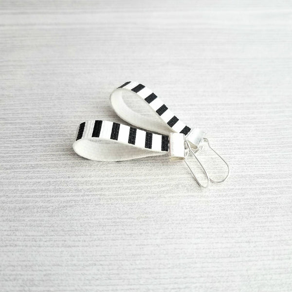 Faux Leather Earrings - black white stripe loop narrow drop nautical style - small minimalist mini silver locking kidney ear wire - vegan