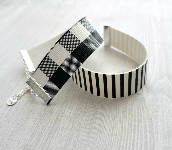 Faux Leather Bracelet - black white adjustable wide band cuff / wrap style - silver plated hardware - thin lightweight stripe check plaid