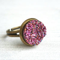 Sparkle Ring - purple FAUX drusy rock solitaire rough cut - rough bumpy chunky glitter pink magenta rainbow - imitation druzy round 6 7 8 9