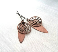 Long Copper Earrings - filigree floral leaf design - light antique finish - simple boho Bohemian unique rustic red brown aged lightweight