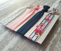 Navy Blue / Pink Floral Hair Band Set - stripe flower elastic white lace knot tie ponytail holder ribbon - sweet handmade gift women girls