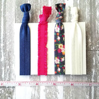 Hot Pink / Navy Hair Tie Accessories - floral tie elastic ruffle stretch ribbon band - pigtail ponytail knot holder set - gentle fine thick thin