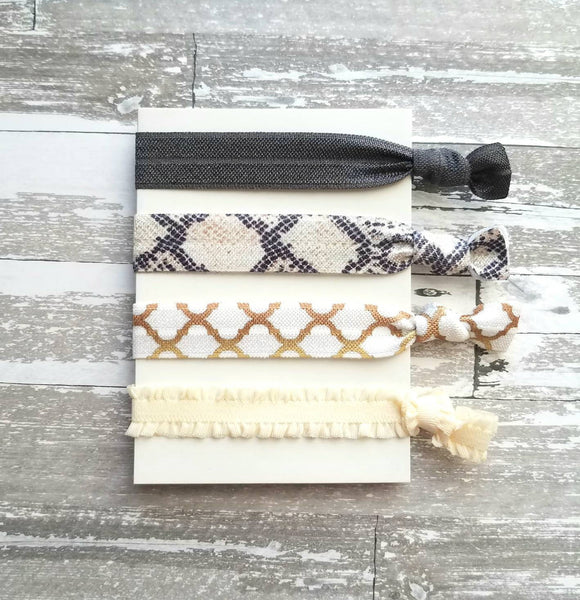Neutral Hair Accessory Set - snakeskin print quatrefoil knot tie elastic band ponytail holder - charcoal grey / gray gold white ivory ruffle