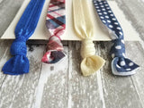 Polka Dot Hair Band Set - plaid red / navy & cobalt blue / ivory white elastic stretch knot tie ponytail holder - girl ladies accessory gift