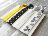Tennis Hair Elastic Set - black / yellow sports theme racquets tennis balls match game love gift - tie band ponytail holder polka dot