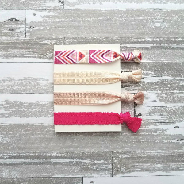 Pink Tribal Hair Band Set - elastic ruffle tie knot bow ponytail holder - no crease gentle fine thick ribbon - Aztec geometric chevron white - Constant Baubling