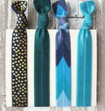 Blue Tribal Hair Tie Set - Aztec arrow chevron shades of navy aqua teal pastel - gold polka dot elastic ribbon bow ponytail holder ladies - Constant Baubling