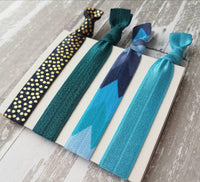 Blue Tribal Hair Tie Set - Aztec arrow chevron shades of navy aqua teal pastel - gold polka dot elastic ribbon bow ponytail holder ladies