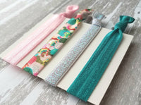 Cactus Hair Accessory Set - pink / aqua teal succulent plant cacti desert plant - tie elastic ribbon ponytail holder band gift ladies girls