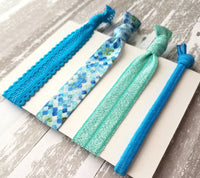 Mermaid Hair Set - aqua teal blue green stretch lace elastic ribbon knot tie ponytail holder accessory - dragon scale mosaic ladies girls